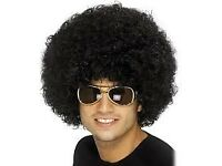 70s / 80s BLACK AFRO FANCY DRESS WIG GREAT FOR PARTY OR STAG DO ALSO HAVE SHIRT FOR SALE
