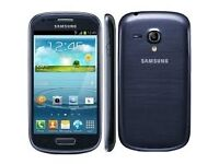 Samsung galaxy s3 mini, blue, unlocked, £60 fixed price