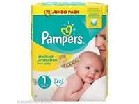 Pampers Size 1 Nappies 2 packs