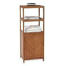 NEW in BOX EcoStyles Bamboo 3-Shelf Tower with Cabinet 15.5 L x 42 H x 13 W bathroom vanities