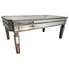 VINTAGE MIRRORED COFFEE TABLE, ANTIQUE SILVER. NEW BOXED. CAN DELIVER./ view