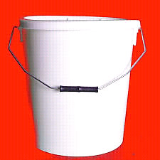 70+  Plastic buckets with red/white lids