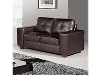 2 SEATER LEATHER SOFA AND 1 LEATHER CUBE CHAIR - REDUCED PRICE