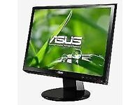 PROFESSIONALLY REFURBISHED ASUS VW193 19 INCH WIDESCREEN MONITOR VGA & POWER CABLE 6 MONTHS WARRANTY