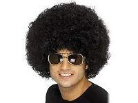 70s / 80s LARGE BLACK AFRO FANCY DRESS WIG GREAT FOR PARTY OR STAG DO