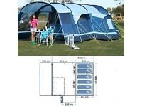 Kampa Filey 6 six berth family tent plus vestibule and accessories.