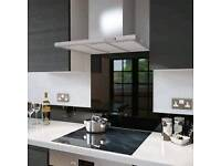 Black glass kitchen splashback
