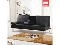 Ex Display Black 2/3 seater leather sofa bed with cup holders