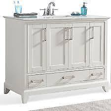 "Simpli Home Elise 48"" Vanity in Off White with Stone Vanity Top in Bombay White NEW ** 5 CORNERS FURNITURE**"