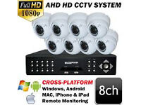 cctv camera system ahd 4 cameras 2 bullet 2 dome 2mp and dvr 8 channel 1tb hard drive