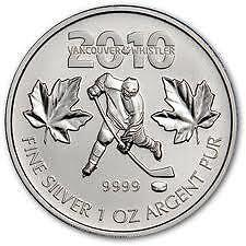 1oz 2010 Vancouver Olympics Hockey Player Silver Maple Coin