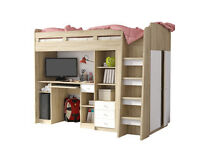 Single white bunk bed with storage