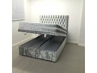 crush velvet double bed with storage ottoman same day delivery