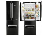 BLACK FRIDAY OFFERS //(%)\ HOTPOINT BLACK AMERICAN STYLE FRIDGE FREEZER INCLUDES 6 MONTHS GUARANTEE