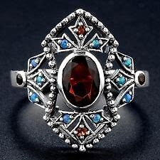 Solid 925 Sterling Silver Garnet and Sapphire Art Deco Ring Parkwood Canning Area Preview