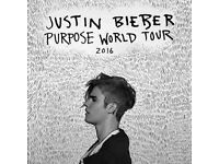 Justin Bieber 'Purpose World Tour' Tickets x2 - Friday 14th October - London O2 Arena