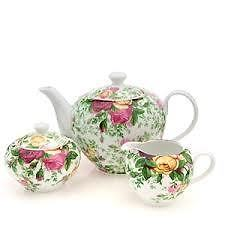 NEW $149 ROYAL ALBERT 3 PIECE TEA SET COUNTRY ROSE CHINTZ TEAPOT SUGAR CREAMER