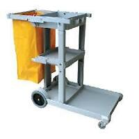 Janitorial Cart with Yellow Bag