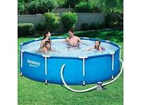 Bestway 10ft Steel Framed Swimming Pool, with Pump and Filters.