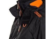 black and orange superdry windcheater coat