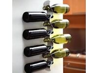 Black + Blum Flow Wall Mounted Wine Rack, Brushed Stainless Steel