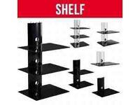 FLOATING BLACK GLASS PLASMA TV WALL MOUNT BRACKET SHELF FOR DVD XBOX.....Brand New