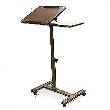 Seville Classics Sit-Stand Desk Cart/w Side Table