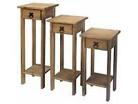 New Solid Corona Mexican Pine Plant Stands from £23 makes a perfect narrow bedside cabinet