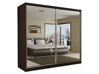 NEWLY ARRIVED 203CM FULLY MIRRORED 2 SLIDING DOORS BERLIN WARDROBE **SAME DAY DELIVERY**