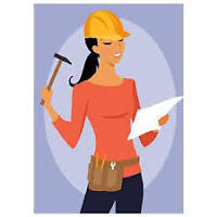 Female All Trades Skills (Finish Carpentry, Tiling, Painting ++)