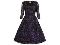 Lindy Bop Lisette Purple Black Lace Vintage Style Dress size 12 brand new Great for Party/ Wedding