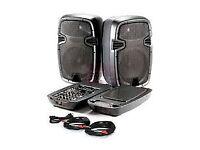 SKYTEC 300 PA system 2x speakers plus Mixer amp