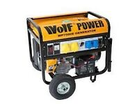 Wolf 8.75KVA Heavy Duty, Electric Start, Dual Voltage, Portable, Petrol Powered Generator