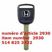 Uncut Transponder Key Blank For Honda Accord Civic Fit Pilot Ody