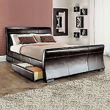 Black leather king size bed