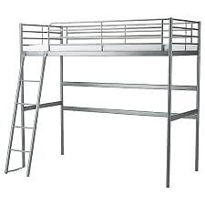 IKEA 'Svarta' white metal double size loft bed. Dismantled, with all parts, fixings and instructions