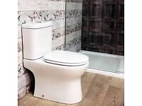 A brand new boxed Breeze Rimless close coupled Ceramic pan and Cistern including Soft Close seat