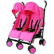Double pink pushchair