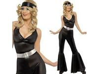 60s/70s BLACK HALTER NECK JUMPSUIT FANCY DRESS SIZE 12/14 GREAT FOR A PARTY OR HEN DO