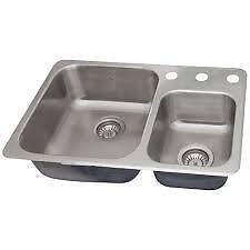 NEW 7 inch depth Kindred RCM1826/3 20-Gauge 2 Drop-In Stainless Steel Kitchen Sink