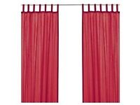4 x IKEA sarita sheer curtain panels in raspberry red colour with white liners