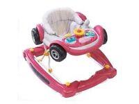 Mothercare 2 in 1pink car baby walker/ rocker