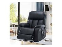Miami Recliner Black Faux Leather Arm Chair BRAND NEW