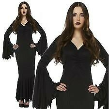 gothic velvet morticia addams family /black vamp size 10/12 great for halloween party