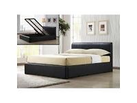 """""EXCLUSIVE SALE """" BRAND NEW DOUBLE STORAGE LEATHER BED WITH IN BLACK BROWN AND WHITE COLOUR"