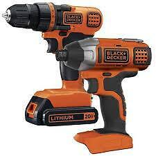 black&decker 20-Volt Lithium-Ion Cordless 2-Tool Combo Kit neufff