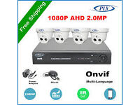 cctv ahd system 8 channel dvr1 tb harddrive and 4 ahd 2 mp cameras day/night vision