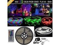 Waterproof 5M 300 LED 3528 RGB SMD Strip Light 12V + Remote Controller + Power Supply Wedding