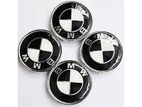 BMW BLACK AND WHITE 68MM SET OF 4 WHEEL CAPS