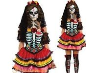 DAY OF THE DEAD SENORITA FANCY DRESS OUTFIT SIZE S 8/10 GREAT FOR PARTY OT HEN DO